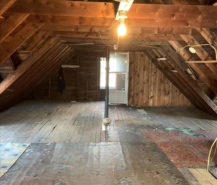 Clean attic with framework showing