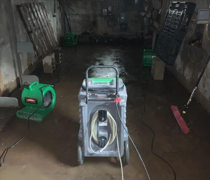 Basement with SERVPRO drying equipment