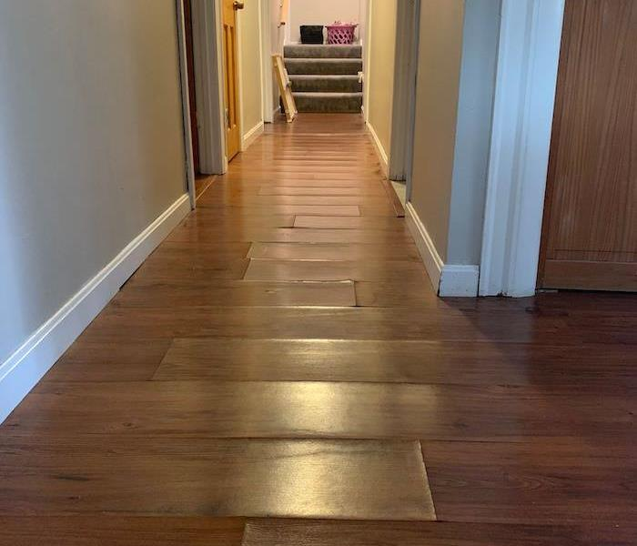 Hallway with damaged laminate floorboards