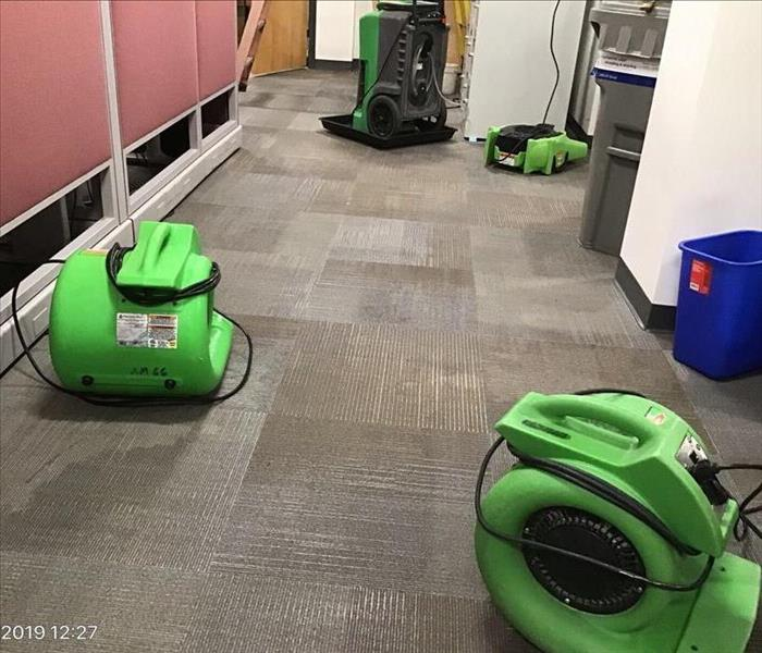 air movers drying office wet carpet